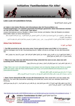 Informationen zum Familiennachzug für Menschen mit subsidiärem Schutz
