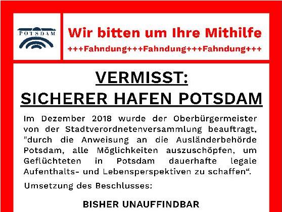04.12.2019: Aktion – Vermisst: Sicherer Hafen Potsdam?!